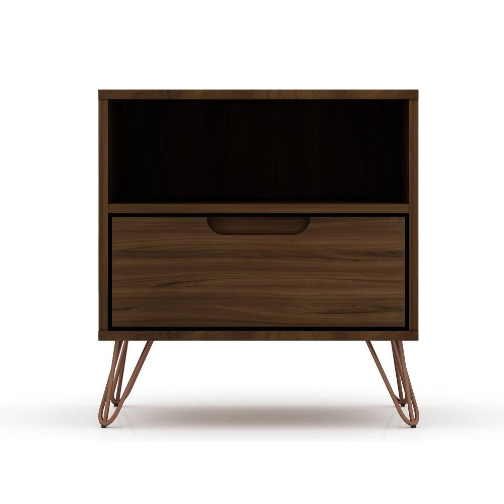 Image of 1.0 Rockefeller Nightstand Brown - Manhattan Comfort