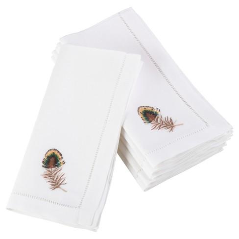 b59b1142ae10 6pk White Embroidered Multicolor Feather Design Napkin 20
