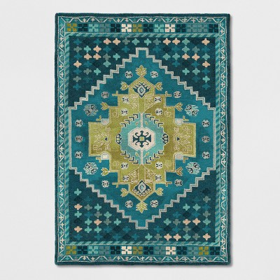 7'X10' Persian Wool Tufted Area Rug Teal Blue - Opalhouse™