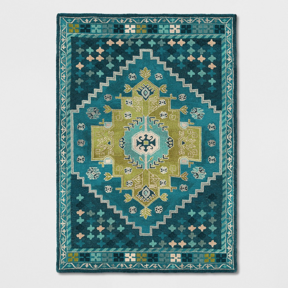 Teal Blue Persian Wool Tufted Area Rug 7'X10' - Opalhouse