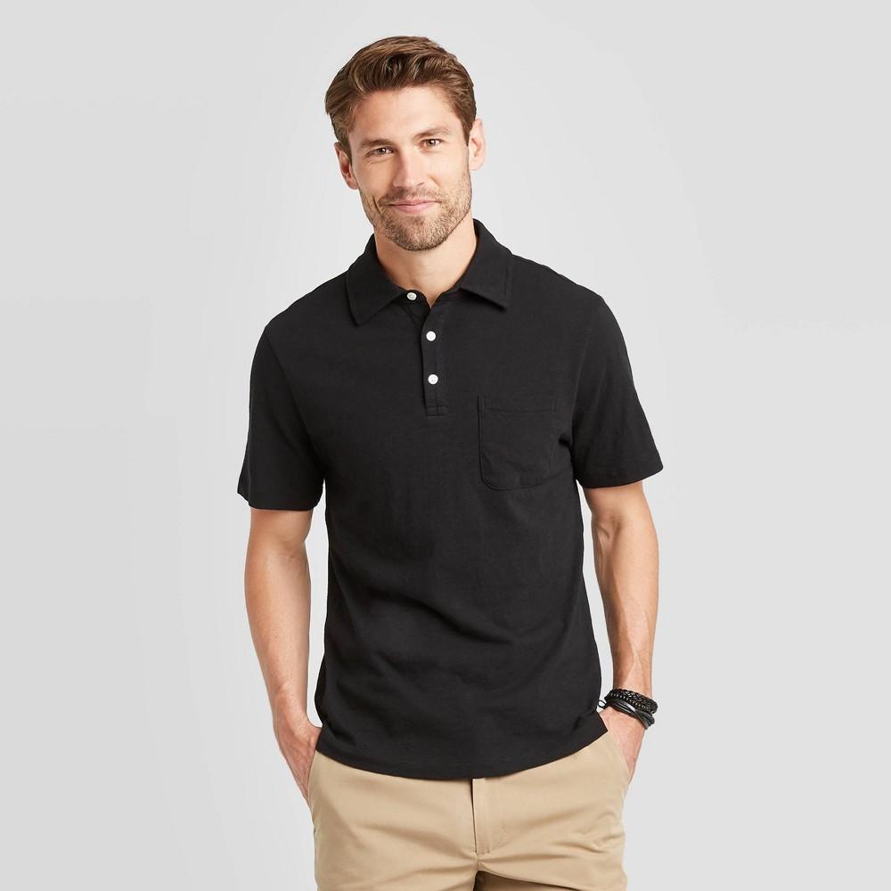 Men 39 S Regular Fit Short Sleeve Collared Polo Shirt Goodfellow 38 Co 8482 Black L