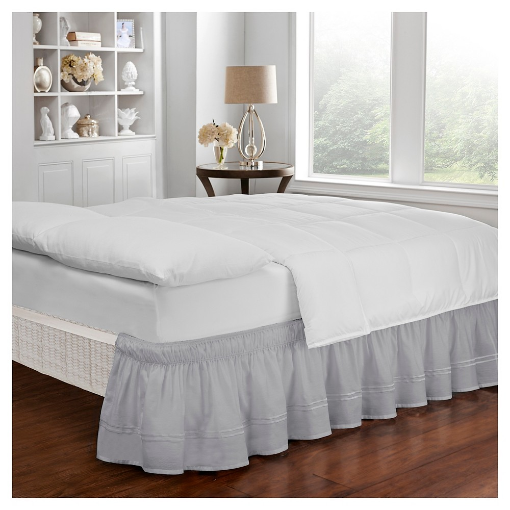 "Image of ""Gray Wrap Around Baratta Stitch Ruffled Bed Skirt (Queen/King) (80""""X60"""") - EasyFit"""