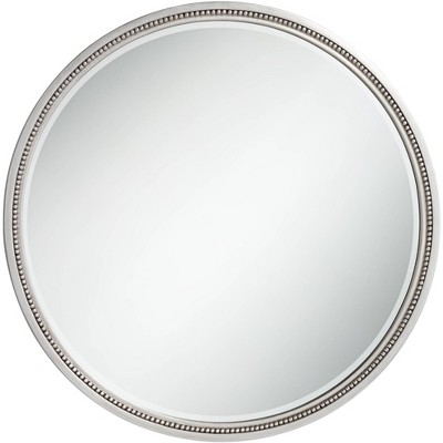 "Noble Park Lorraine Silver 32 3/4"" Round Beaded Trim Wall Mirror"
