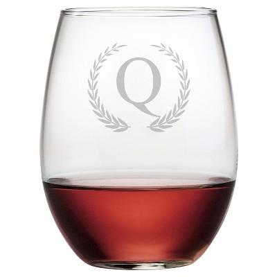 Susquehanna 21oz Glass Wreath Monogram Stemless Wine Glasses - Q - Set of 4