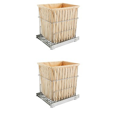 Rev-A-Shelf HRV-1520 S CR Cabinet Floor Mounted Pullout Wire Clothes Laundry Hamper Basket with Liner and Full Extension Slides, Chrome  (2 Pack)