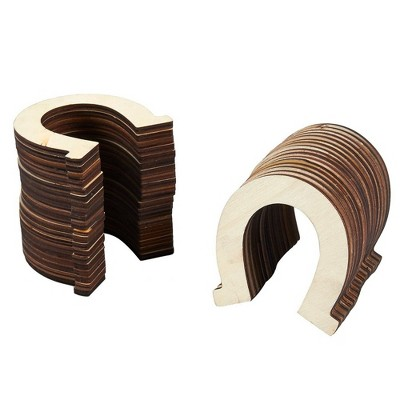 Juvale Wood Cutouts for Crafts, Small Horseshoe (3.25 x 3.5 in, 36-Pack)