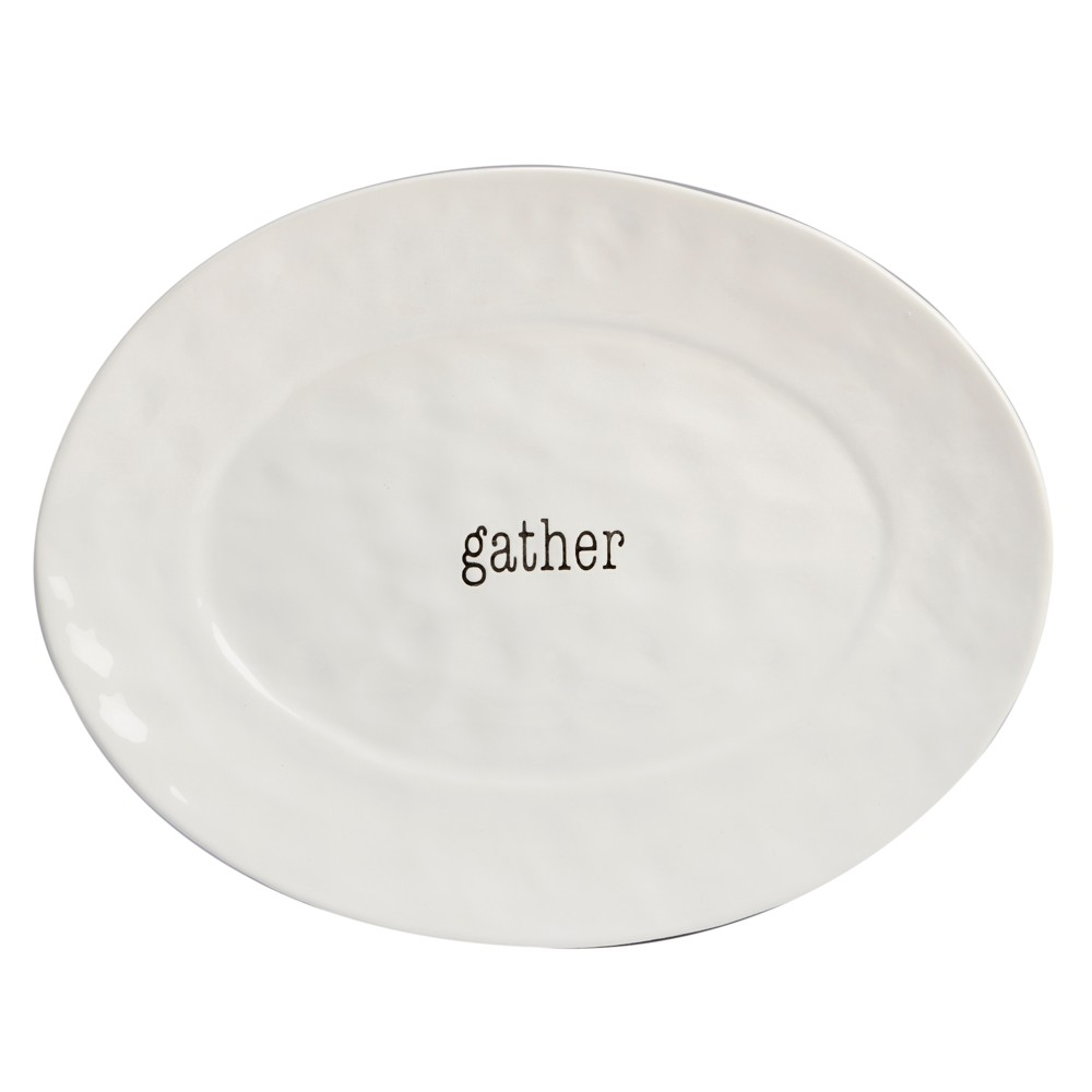 """Image of """"Certified International It's Just Words Oval Ceramic Serving Platter 12"""""""" x 16"""""""" - White"""""""