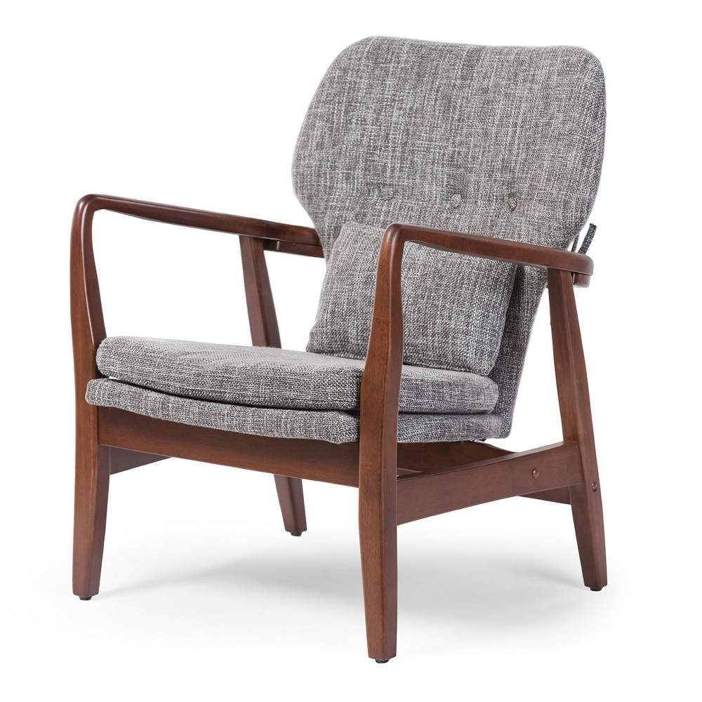 Rundell Mid - Century Modern Retro Fabric Upholstered Leisure Accent Chair In Walnut Wood Frame - Gray - Baxton Studio