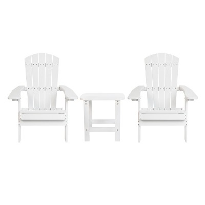 Flash Furniture 2 Pack Charlestown All-Weather Poly Resin Folding Adirondack Chairs with Side Table