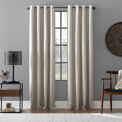 52 x95  Linen Blend Blackout Grommet Top Curtain Pearl - Archaeo