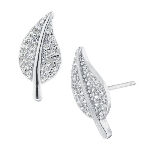 Sterling Silver Cubic Zirconia Leaf Stud Earring - Silver/Clear - image 1 of 1