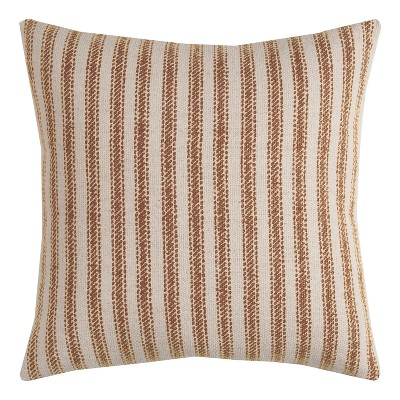 """20""""x20"""" Ticking Striped Throw Pillow Brown - Rizzy Home"""