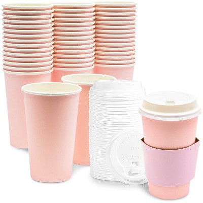 48-Pack Blush Pink Insulated Disposable Coffee Cups with Lids and Sleeves, 16oz Paper Hot Cup to Go for Wedding Reception, Girl Baby Shower Party
