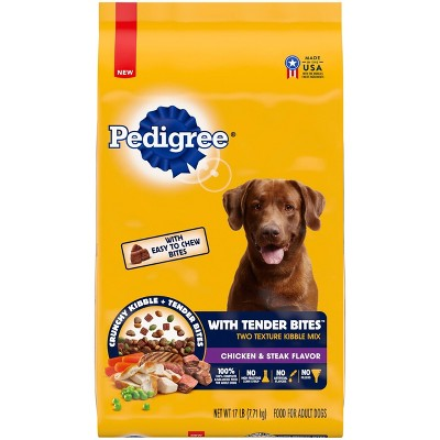 Pedigree with Tender Bites Chicken & Steak Flavor Adult Complete & Balanced Dry Dog Food - 17lbs