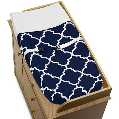 Sweet Jojo Designs Changing Pad Cover - Trellis - Navy Blue