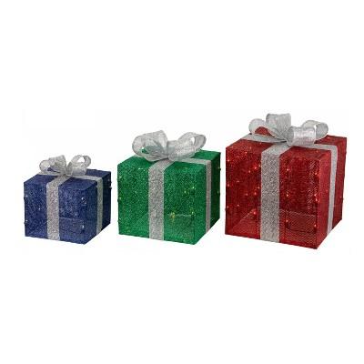 3ct Christmas Incandescent Gift Box Novelty Sculpture - Wondershop™