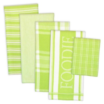 5pc Cotton Foodie Dishtowel and Dishcloth Set Green - Design Imports