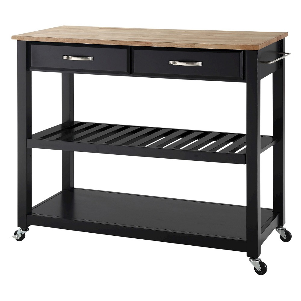 Natural Wood Top Kitchen Cart/Island With Optional Stool Storage - Black - Crosley