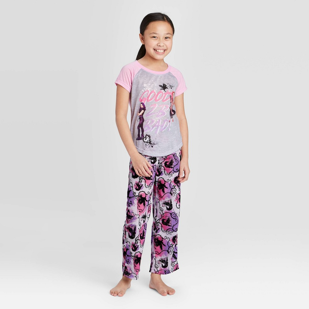 Image of Girls' Descendants Poly 2pc Pajama Set - 12, Girl's, Gray/Black/Pink