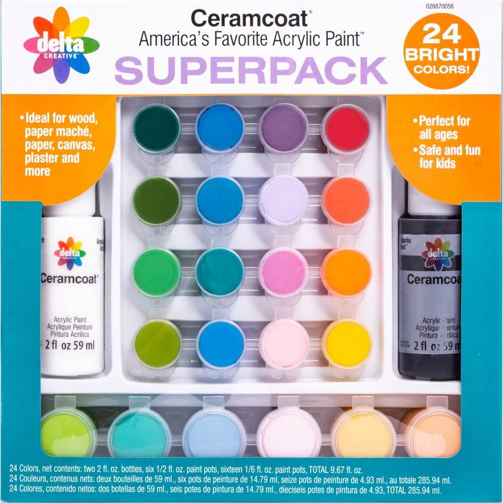 24pc Ceramcoat Acrylic Paint Set Superpack - Delta