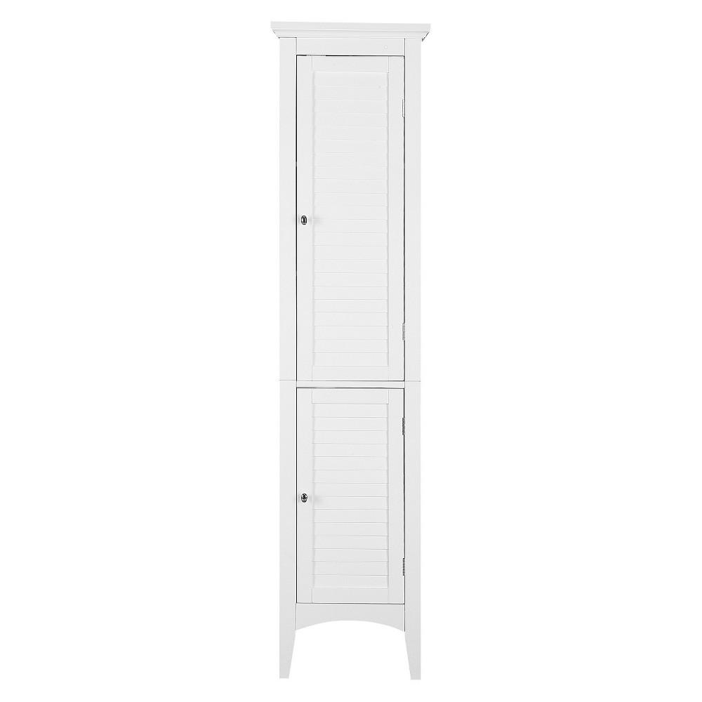 Elegant Home Fashion Slone 2 Door Shuttered Linen Cabinet - White