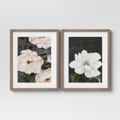 """(Set of 2) 16"""" x 20"""" Floral Framed Wall Art Matted Charcoal - Threshold™"""