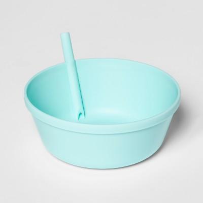 13.5oz Plastic Kids Bowl with Built In Straw Seafoam - Pillowfort™