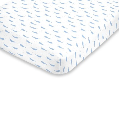 NoJo Super Soft Blue and White Watercolor Narwhal Fitted Mini Crib Sheet