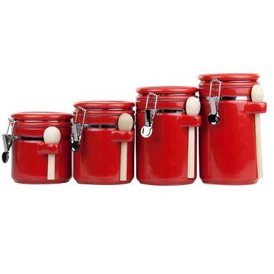 Home Basics 4 Piece Ceramic Canister Set with Wooden Spoons