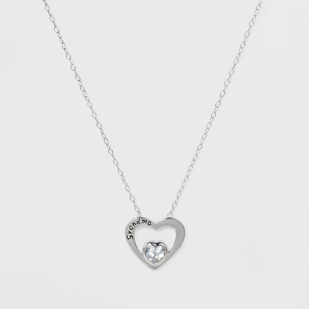 Pendant Sterling Silver Heart with Grandma and Cubic Zirconia on Chain - Silver/Clear (18)