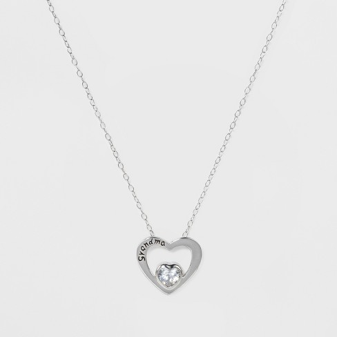 "Pendant Sterling Silver Heart with GRANDMA and Cubic Zirconia on Chain - Silver/Clear (18"") - image 1 of 2"