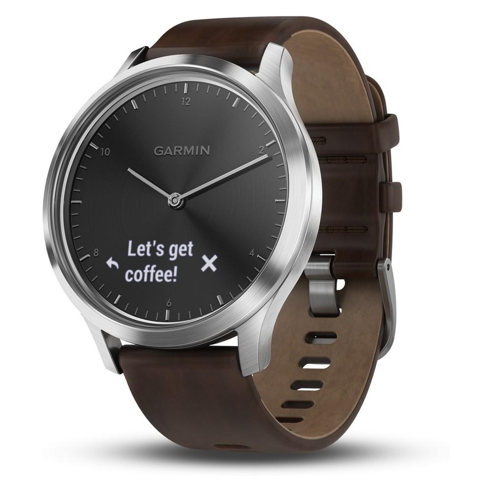Garmin vivomove HR Silver Sport Watch with Dark Brown Leather Band