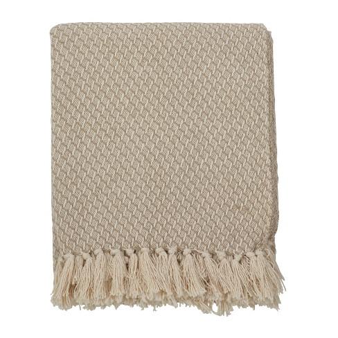 "50""x60"" Classic Tassel Trim Throw Blanket Beige - Saro Lifestyle - image 1 of 3"