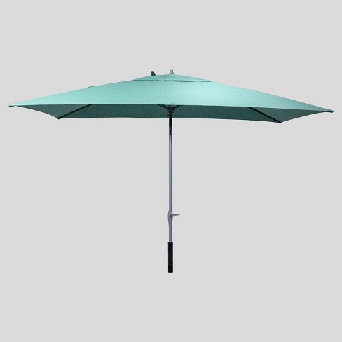 6 5' x 10' Rectangular City Geo Patio Umbrella Smoke Green - Ash Pole -  Project 62™