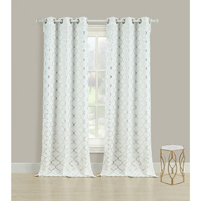 GoodGram 2 Pack Metallic Lattice Foil Ultra Luxurious Grommet Top Window Curtains