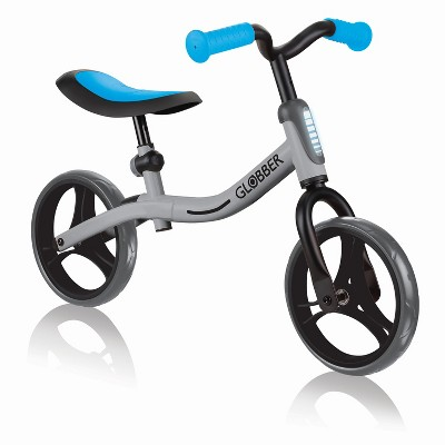 Globber GO BIKE Adjustable Balance Training Bicycle for Toddlers with No Pedals and Comfort Grips, Silver and Sky Blue