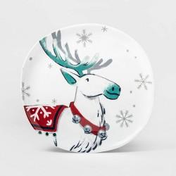 """11"""" Melamine Reindeer Dinner Plate White - Wondershop™"""