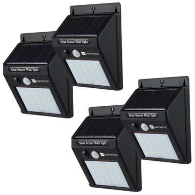 Dartwood Outdoor Solar Lights with Motion Sensor, 20 LED, 150 Lumens Bright Weatherproof Wall Spotlight for Gardens Porches Walkways Patios (4 Pack)