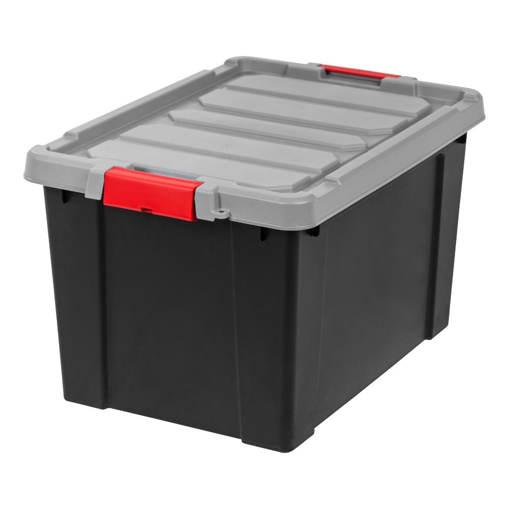Image of IRIS 19gal Store It All Heavy Duty Stackable Utility Tote with Red Buckle Black