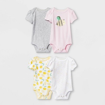 Baby Girls' 4pk Short Sleeve Oh Honeybee Bodysuits - Cloud Island™ 6-9M