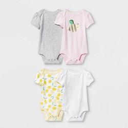 Baby Girls' 4pk Short Sleeve Oh Honeybee Bodysuits - Cloud Island™