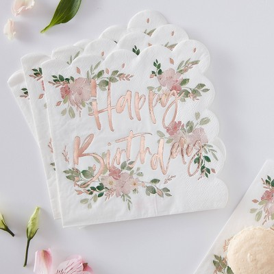 Ditsy Floral Happy Birthday Disposable Napkin