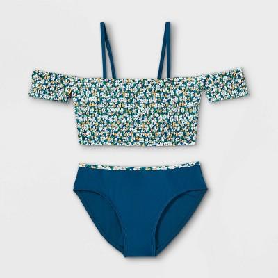 Girls' Disty Floral Print Smocked Bikini Set - art class™ Blue