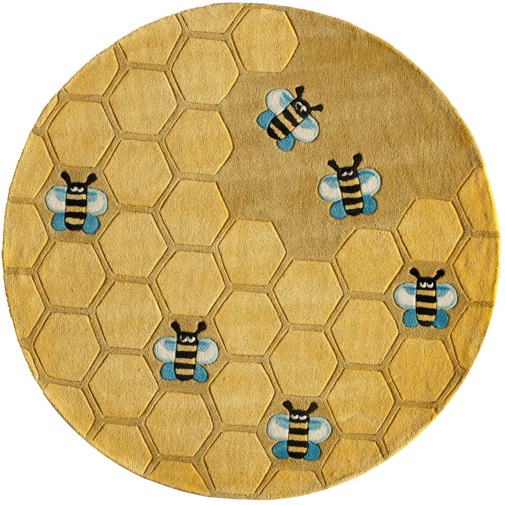 5'X5' Bee Tufted Round Area Rug Honeycomb Gold - Momeni