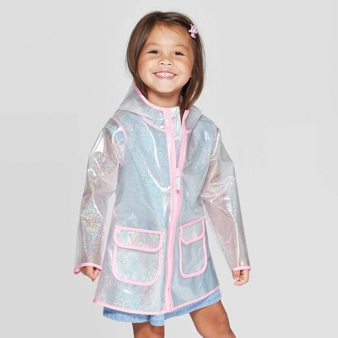 Toddler Girls' Sparkle Rain Coat - Cat & Jack™ Clear - image 1 of 3