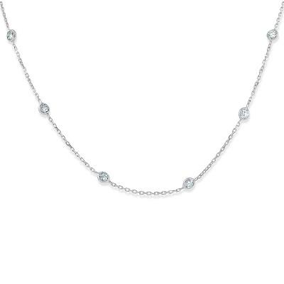 "Pompeii3 1 1/2 Ctw Diamond Bezel Station Necklace 14K White Gold 18"""