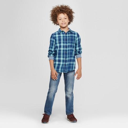 eeb505813a57f Boys  Long Sleeve Button-Down Shirt - Cat   Jack™ Dark Blue   Target