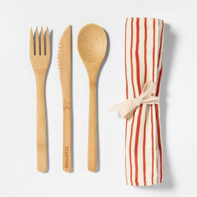 3pc Bamboo Utensil Set with Bag Orange/Cream Stripe - Opalhouse™