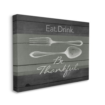 Stupell Industries Eat Drink Be Thankful Silverware Kitchen Wood Texture Word Design
