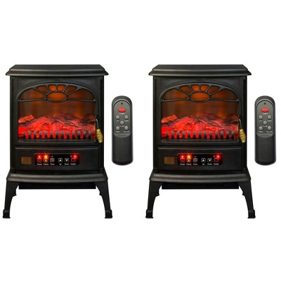 LifeSmart 1500W Large Room 3-Sided Mobile Electric Infrared Stove Heaters (Pair)